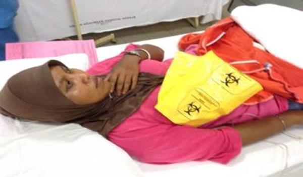 Mangsa, Rozita Sharif, sedang menerima rawatan di Hospital Yan.