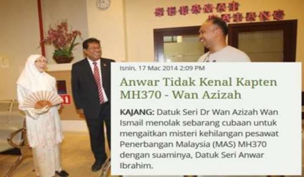 Wan Azizah mengatakan Anwar tidak kenal kapten Zaharie