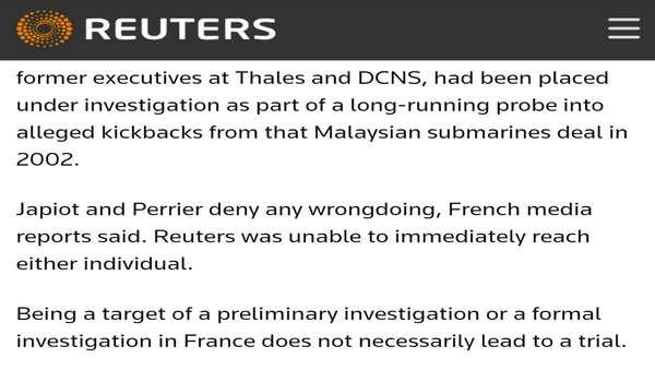 Razak Baginda Nafi Didakwa Mahkamah Perancis Dalam Isu Scorpene
